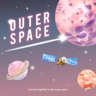 Poste de médias sociaux galaxy avec satellite, illustration aquarelle de planètes.