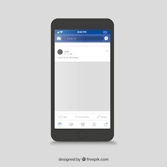 Poste mobile facebook avec un design plat