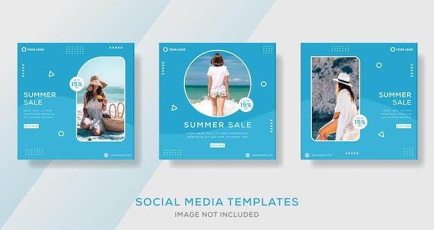 Poste de modèle de bannière de vente d'été avec la couleur bleue