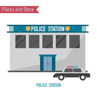 Poste de police dans un concept de design plat