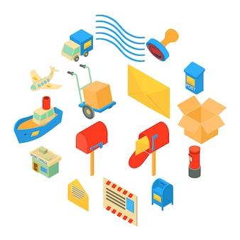 Poste service icônes définies, style isométrique