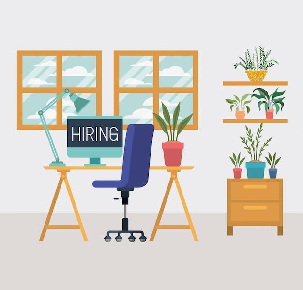 Poste de travail avec message d'embauche