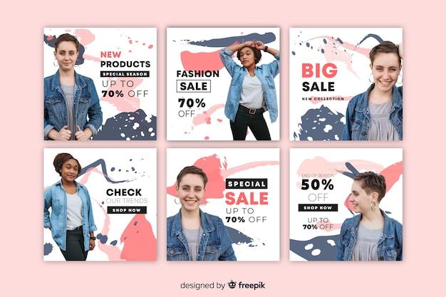 Poste de vente abstrait abstrait instagram avec image