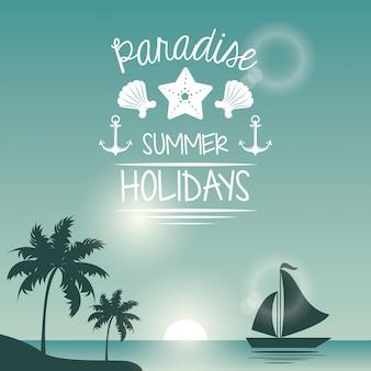 Poster bleu couleur bord de mer avec yacht et logo texte paradis vacances d'été