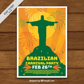 Poster carnaval de fête avec la silhouette du christ rédempteur