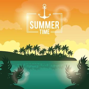 Poster coucher de soleil paysage de palmiers sur la plage
