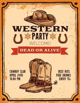 Poster dessiné à la main western