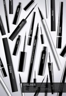 Poster eyeliner cosmétique avec emballage