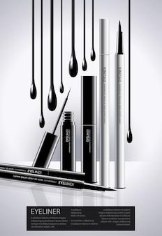 Poster eyeliner cosmétique avec modèle d'affiche d'emballage