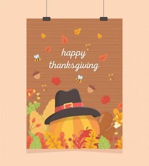 Poster happy thanksgiving suspendu à la citrouille avec un chapeau, glands, abeilles