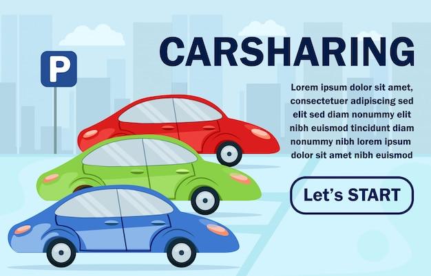 Poster informatif de partage de voitures lettrage plat.