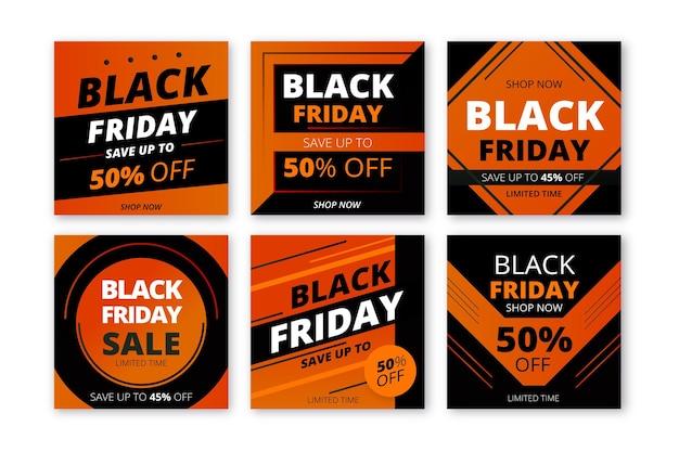 Poster instagram noir vendredi dégradé orange