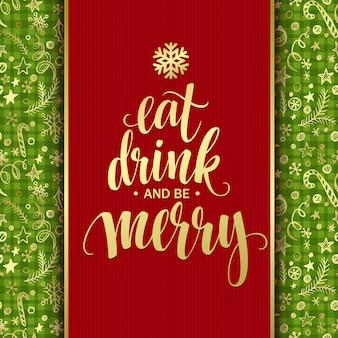 Poster lettrage manger à boire et être joyeux, carte de voeux