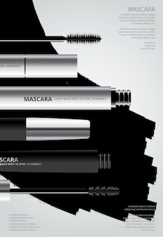 Poster mascara cosmétique avec illustration d'emballage