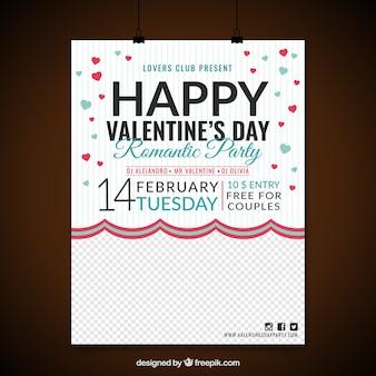Poster party avec des coeurs rouges et bleus pour saint valentin