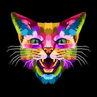 Poster portrait pop art chat coloré