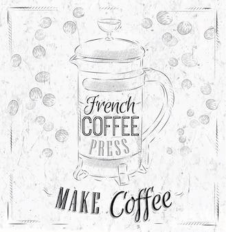 Poster Presse à café française charbon