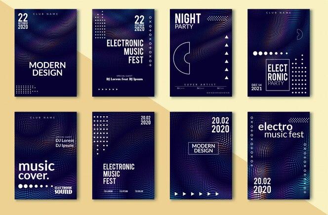 Poster sono électronique, lignes déformées par une vague abstraite