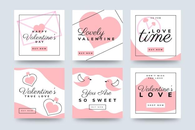 Postes instagram rose et blanc pour la saint-valentin