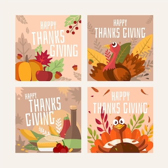 Postes instagram de thanksgiving dessinés à la main