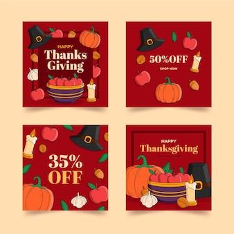 Postes instagram de thanksgiving dessinés à la main