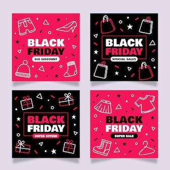 Postes instagram de vendredi noir dessinés à la main