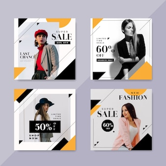 Postes instagram de vente de mode avec pack photo