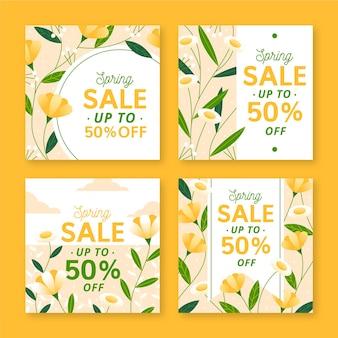 Postes instagram de vente de printemps dessinés à la main