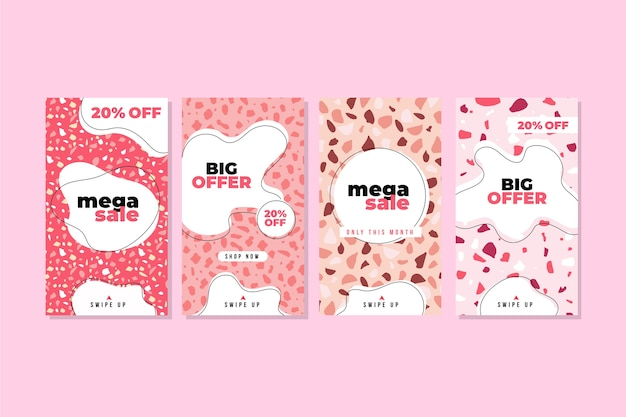 Postes de vente de style dessiné à la main en terrazzo rose instagram