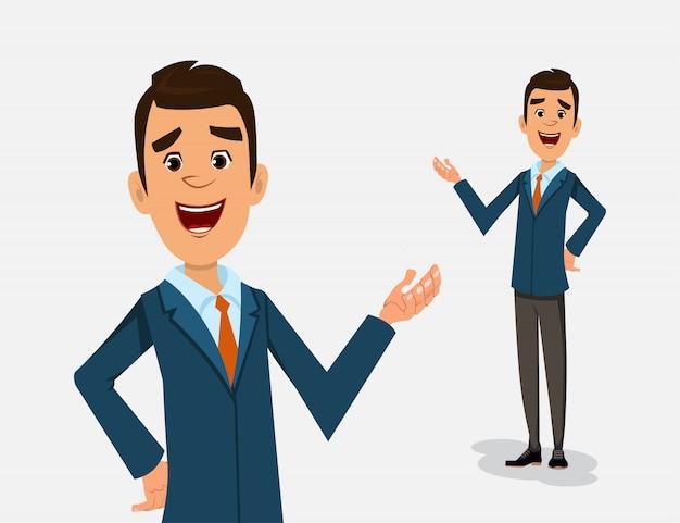 Posture debout de personnage de dessin animé homme d'affaires