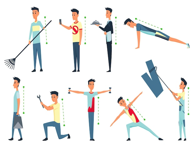 Posture et ergonomie. alignement correct de la posture du corps humain pour une bonne personnalité et une bonne santé de la colonne vertébrale et des os. illustration des soins de santé.
