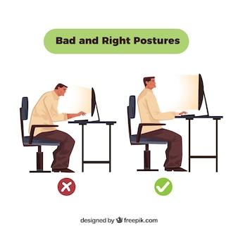 Posture incorrecte devant l'ordinateur