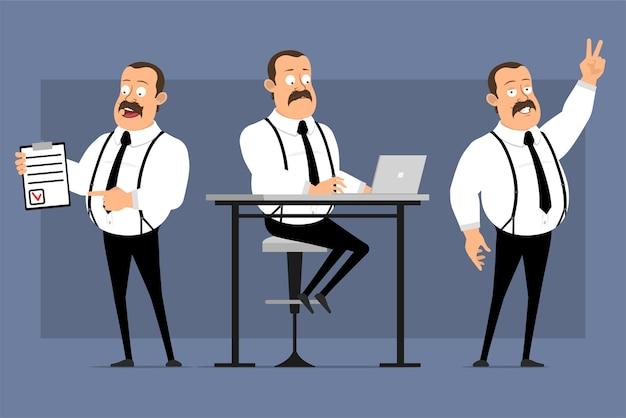 Postures de dessin animé drôle d'employé de bureau isolés sur bleu