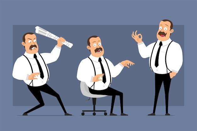 Postures d'employé de bureau drôle de dessin animé isolés sur jeu d'icônes de vecteur bleu.