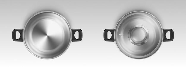 Pot en acier, casserole, vue de dessus de la casserole vide