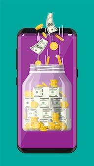 Pot d'argent en verre plein de pièces d'or et de billets de banque sur l'écran du smartphone. banque mobile, tirelire. croissance, revenu, épargne, investissement. richesse, succès commercial. illustration vectorielle plane.
