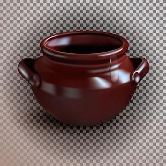 Un pot en argile marron réaliste sur un fond transparent isolé.