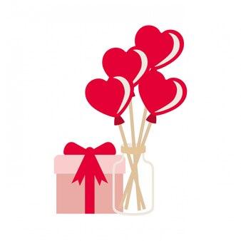 Pot à ballons coeurs et icônes de boîte cadeau