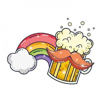 Pot de bière et arc en ciel jour saint patrick