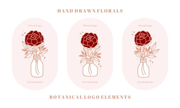 Pot de bouteille de modèle de logo de fleur de pivoine rose botanique vintage dessiné à la main et collection d'éléments de marque de beauté féminine