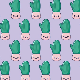 Pot de cactus kawaii