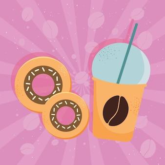 Pot de café à emporter et beignets