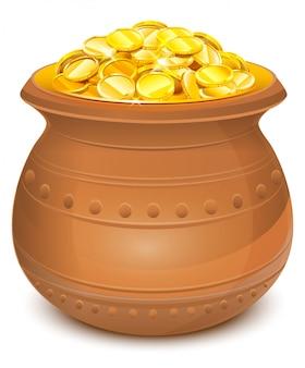Pot en céramique avec pièces d'or