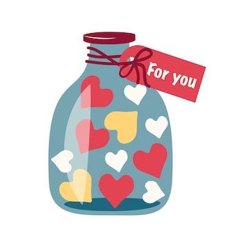 Pot avec des coeurs et une inscription pour vous.