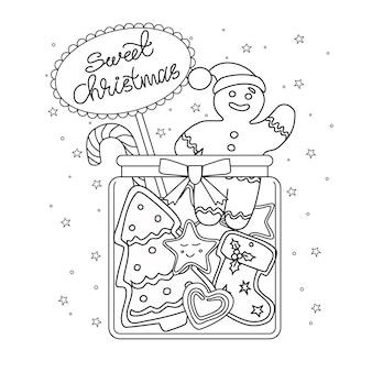 Pot à la coloration de pain d'épice sweet christmas le bonhomme en pain d'épice les vobjects sont isolés