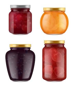 Pot de confiture. réaliste fait maison marmelade traditionnelle gourmande en gelée saine de la collection de fruits.