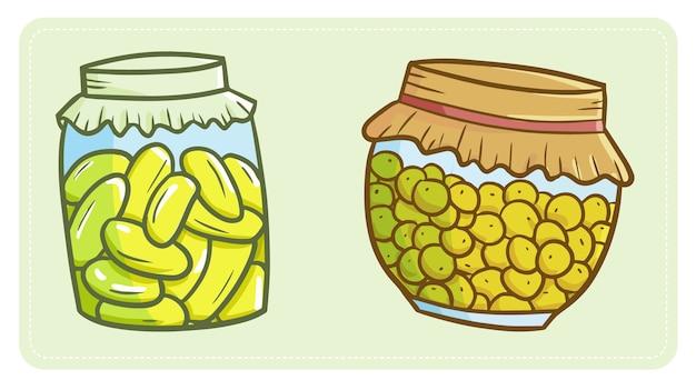 Pot de cornichons délicieux et mignon