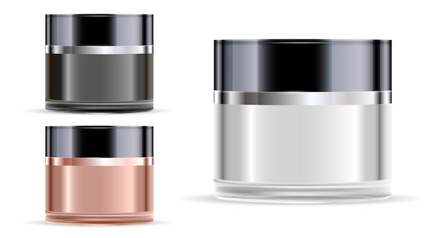 Pot cosmétique. bocal en verre pour la crème. maquette de luxe.