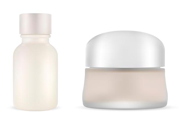 Pot de crème cosmétique avec bouteille de sérum. ensemble maquette