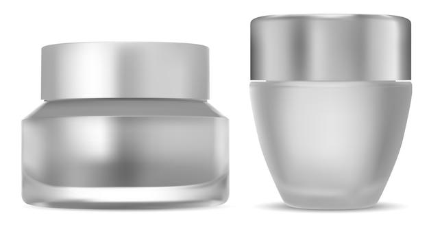 Pot de crème cosmétique. bouteille en verre avec bouchon.
